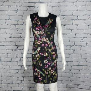 Clover Canyon Black Floral Neoprene Dress
